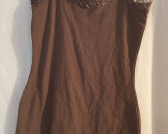 Zenana Outfitters camisole lace trim brown tank top soft cotton size Small