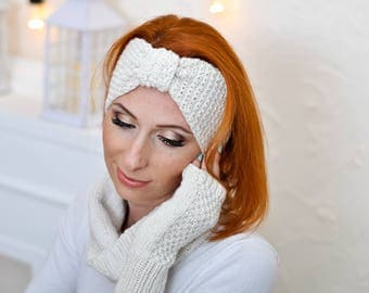 Winter ear warmer Chunky knit headband Christmas gift/for/birthday gift for mom Knit headband wool White headband knit Boho headband women