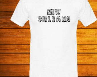 New Orleans City in Louisiana, Flowers Font T-Shirts, tees, vinyl Fashion Short Sleeve T-Shirt