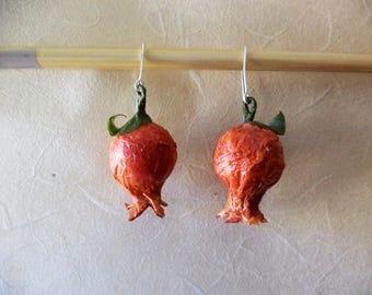 Pomegranate earrings paper mache