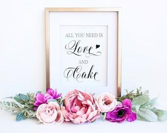 Wedding Cake Table Decor, Dessert Table Sign, Printable Wedding Cake Sign, Dessert Bar, Printable Wedding Signs, Printable Reception Sign