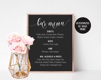 Black Wedding Sign, Wedding Bar Sign, Wedding Drink Sign, Bar Menu Template, Bar Menu Sign, Wedding Bar Menu, Drink Menu, Bar Menu Printable