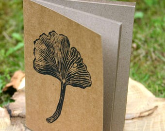 Ginkgo - small notebook blank, linocut 10,5 x 15 cm