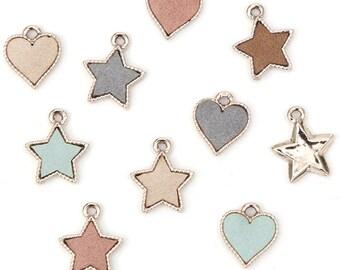 Alloy  leather earrings weights/ heart and star shape / Star Pendant /DIY/ / earings / handmade / ear clip earrings / Earrings accessories