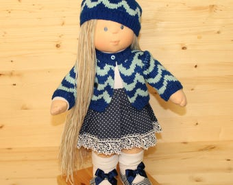 Waldorf Doll game textile doll With Blond Hair Waldorfsky Doll Soft Rag Doll For Baby Jersey Doll With Long Hair Dolls clothes 18 Inch Doll
