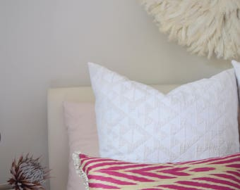 READY TO SHIP Handwoven Uzbek Pink Ikat Chevron Decorative Cushion Cover, Pillow Cover with Fringing