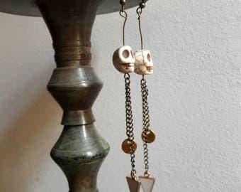 Long skull earrings