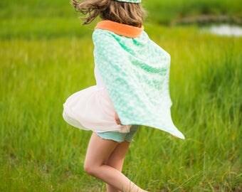 Sweet Love Mint - Hero Blankie -- Baby Blanket and Hero Cape in One -- Gender Neutral
