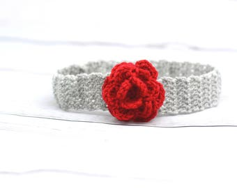 Grey red hair band, girl rose Hairband headband Germany, newborn gift, baby photo, baptism, spring, autumn