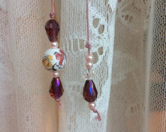 Pink Book Charm - books, accessories, beaded, twine, beads, ceramic, purple, pink, magenta, gold, white, read, floral, bookmark, book thong