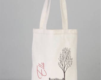 Book Bag, Cotton Book Bag, Personalized Book Tote, Seat and Tree Bag, Canvas Book Bag, Children Tote Bag, Daily Bag, Cotton bags logo