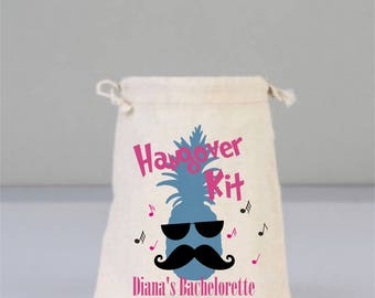 Bachelorette Party Hangover Kit, Drawstring Mini Favor Bags,  Wedding Part Favor, Pine apple bag, Mustache , Personalized