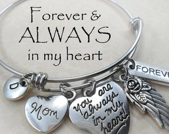 Mom Memorial Bangle Bracelet, Always In My Heart, Angel Wing, Beautiful Quality, Stainless Steel  Custom Initial Charm, Loss of Mother Grief