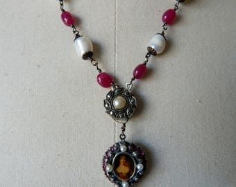 Rubies & Pearls Baroque Style Vintage Assemblage Necklace