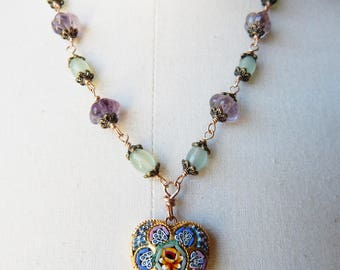Vintage Micro Mosaic Heart Pendant Necklace with Wire Link Carved Amethyst and Glass Beads