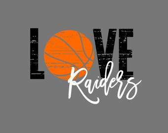 Love Raiders Basketball Distressed SVG