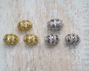 Cz Filigree and Cz Crystals Oval Beads- Crytal Beads- Silver Crystal Beads- Gold Cz Beads
