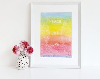 Wall Art Print, Instant Download, Inspirational Gifts, Printable Art, Printable Wall Art, Positive Inspiration, Love Joy Peace Watercolor