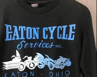 M * Vintage 90s Eaton Ohio L/S motorcycle t shirt * biker