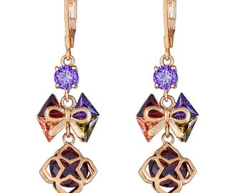 14K Gold Filled Purple Glitzy Women Earring with Hanging Red Stone Cover