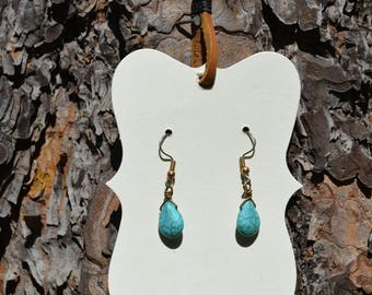 Simple Turquoise Teardrop Earrings
