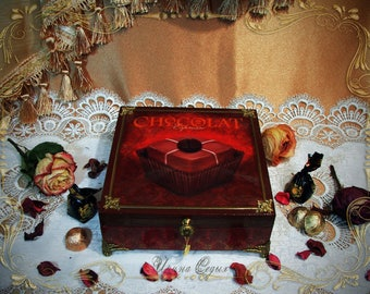 """Tea box,Box for sweets, Wooden box for sweets,Box for tea and sweets """"Chocolate mood"""""""