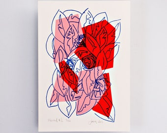 Floral #1 Limited Edition Screen Print, Line Drawing, Hand Printed, Fashion Illustration, Fashion Wall Art, Floral Print, Floral Art, Pink