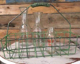 Green Wire Milk Bottle Basket Oil Caddy Carrier