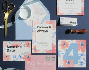 Modern Floral Wedding Suite 'La Vie en Rose'