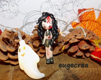 Magnet (magnet) with polymer clay zombie girl