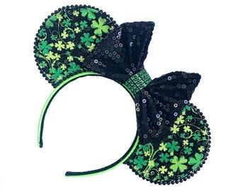 St. Patrick's Day Mouse Ears | Irish Mouse Ears | Ireland Clover Mouse Ears | St. Patrick's Day | Mouse Ears Headband | Mouse Ears