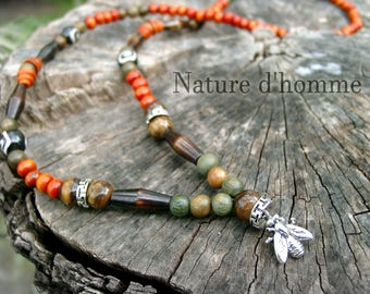 Original necklace ethnic style wood sandalwood, bone, wood incense, stone Tiger eye and bee Ref: RC-020