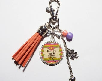 """Keychain / bag gift purple and pink GRANNY """"for my dear Grandma"""" charm / grandmother/mother of grandmas party"""