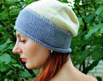 Autumn beanie hat, Gray slouchy beanie, Womens beanie, Slouch beanie, Gradient hat, Gray Milk, Warm hat handmade, Slouch hat, Wool Beanie