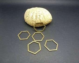 5 connectors geometric rings closed 17 * 15mm bronze Hexagon shape (8SCB18)