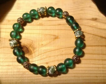 Emerald Green Stretch Bracelet with Tree Agate Beads
