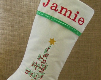 Personalized Christmas Stocking, Music Lover Stocking, Christmas Stocking, Embroidered Christmas Stocking, Christmas