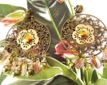 Earrings Bohemian bronze and gold print.