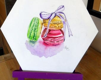 "Original Watercolour on canvas ""macarons"", sold without easel"