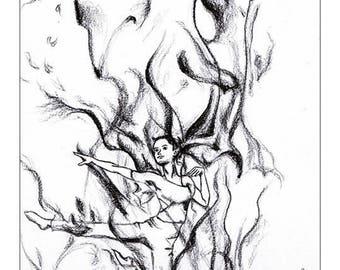 Illustration Jeunesse de salamandre // Drawing fairy // Graphite black and white  // Print format 15x9 inch