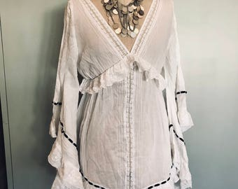 Vintage white Hippie style dress