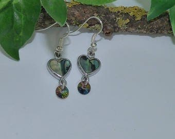 Pretty mother of Pearl Abalone pieces and bicone crystal earrings