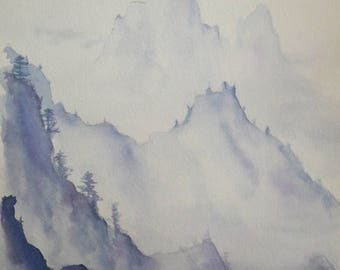 Watercolor landscape mountains in the mist