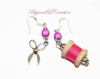 Earrings funny and original spool wood thread and scissors
