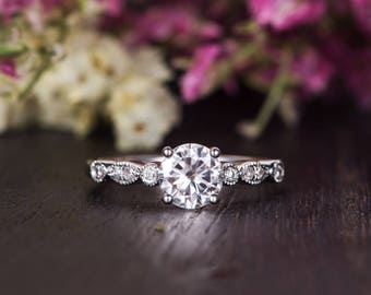 Art Deco Moissanite Engagement Ring Moissanite Ring White Gold Solitaire Flower Unique Woman Antique Bridal Promise Ring Anniversary Gift