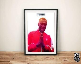 Stormzy - Digital Print - Music Poster - A3 - Red - Digital Art - Illustration -