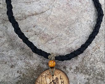"""Rustic Maple Wood """"LHHT Shelter"""" Necklace"""