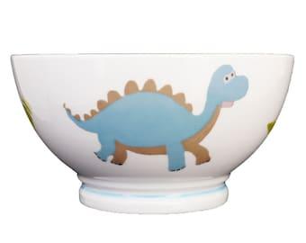 Bowl porcelain child dinosaur custom - dinosaur birthday gift baptism