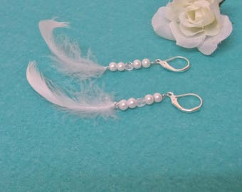 Bridal earrings, ceremony feathers, pearls and swarovski pearls