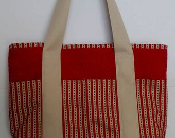 Shoulder Tote Bag with Pockets Dark Red and Americana Stripes for Shopping, Books, School, Market, Diapers, Knitting and Sewing Projects